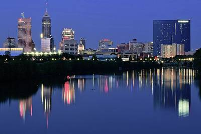 White River Photograph - Indianapolis Blue Hour by Frozen in Time Fine Art Photography