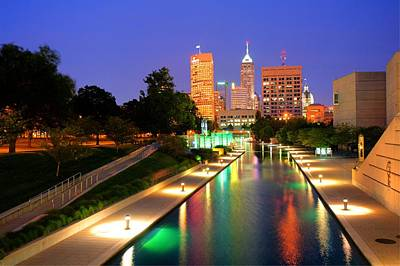 Skyline Photograph - Indianapolis Canal Skyline View by Gregory Ballos