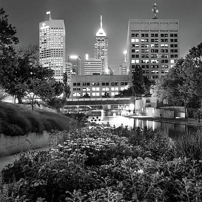 Indianapolis Canal Walk Skyline Black And White 1x1  Print by Gregory Ballos