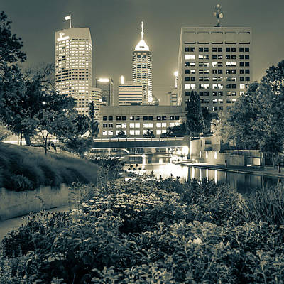 Photograph - Indianapolis Canal Walk Skyline Sepia 1x1  by Gregory Ballos