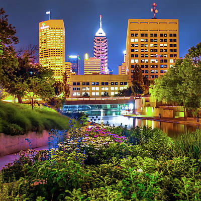 Indiana Photograph - Indianapolis Canal Walk Skyline Vibrant Color 1x1  by Gregory Ballos