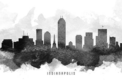 Indiana Painting - Indianapolis Cityscape 11 by Aged Pixel