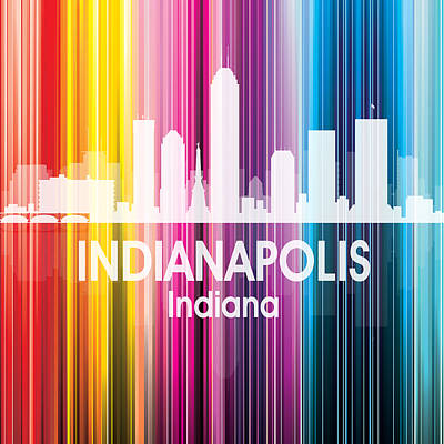 Abstract Skyline Mixed Media - Indianapolis IN 2 Squared by Angelina Vick