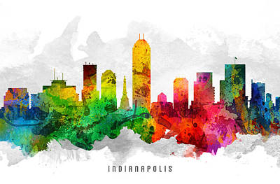 Indiana Painting - Indianapolis Indiana Cityscape 12 by Aged Pixel