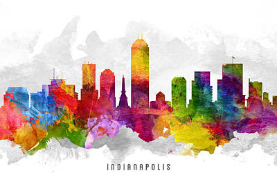 Indiana Painting - Indianapolis Indiana Cityscape 13 by Aged Pixel