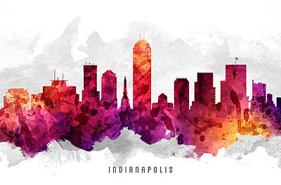 Indiana Painting - Indianapolis Indiana Cityscape 14 by Aged Pixel