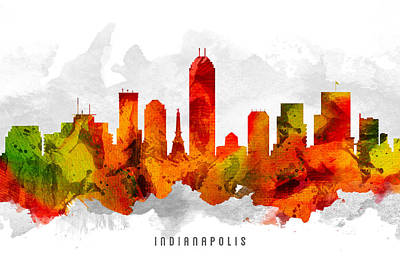 Indiana Painting - Indianapolis Indiana Cityscape 15 by Aged Pixel