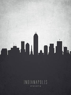 Indianapolis Indiana Cityscape 19 Print by Aged Pixel