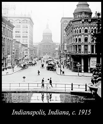 Indianapolis, Indiana, Downtown Area, C. 1915, Vintage Photograp Art Print