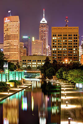 Indianapolis Indiana Downtown Skyline Vertical With River Art Print by Gregory Ballos