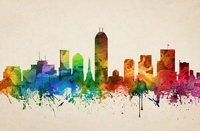Indiana Painting - Indianapolis Indiana Skyline 05 by Aged Pixel