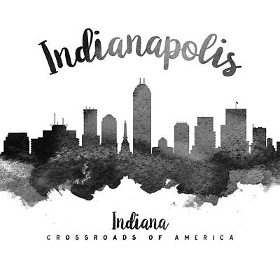 Towns Digital Art - Indianapolis Indiana Skyline 18 by Aged Pixel