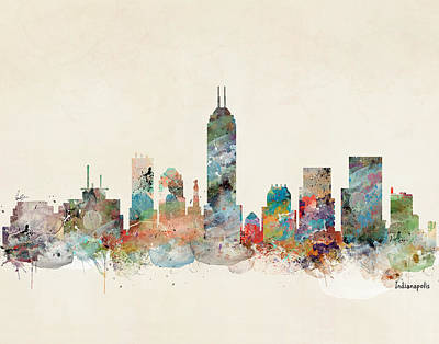 Painting - Indianapolis Indiana Skyline by Bleu Bri