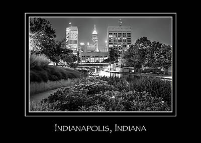 Name In Lights Photograph - Indianapolis Indiana Skyline City Name Print - Black And White by Gregory Ballos