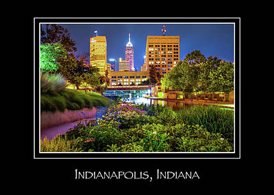 Name In Lights Photograph - Indianapolis Indiana Skyline City Name Print - Color by Gregory Ballos