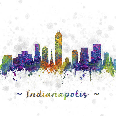 Indianapolis Indiana Skyline Color 03sq Print by Aged Pixel