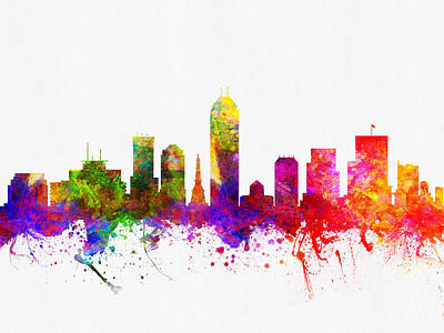 Indianapolis Digital Art - Indianapolis Indiana Skyline Color02 by Aged Pixel