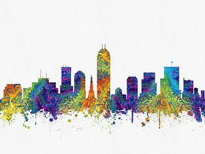 Indianapolis Digital Art - Indianapolis Indiana Skyline Color03 by Aged Pixel