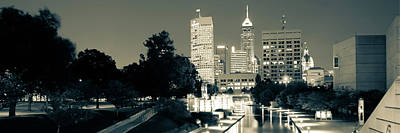 Photograph - Indianapolis Indiana Skyline Panoramic Sepia by Gregory Ballos