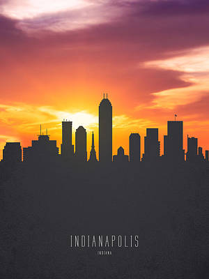 Indiana Painting - Indianapolis Indiana Sunset Skyline 01 by Aged Pixel