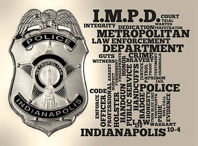 Police Officer Mixed Media - Indianapolis Metropolitan Police Department Silver by Dave Lee