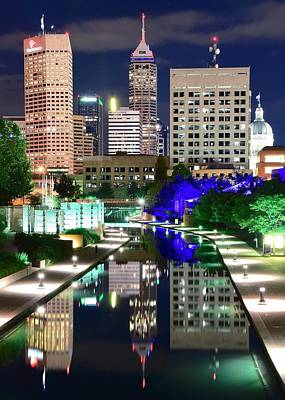 Photograph - Indianapolis Nights On The Canal by Frozen in Time Fine Art Photography
