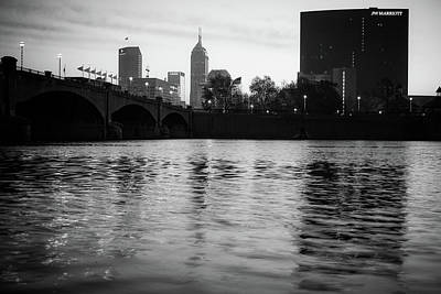Photograph - Indianapolis On The Water - Black And White Skyline by Gregory Ballos