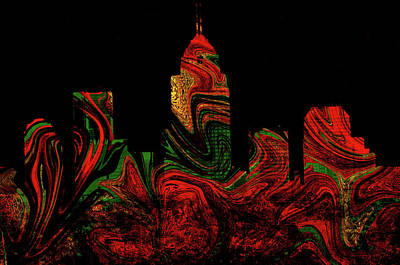 Photograph - Indianapolis Red Swirly Skyline by Michelle McPhillips