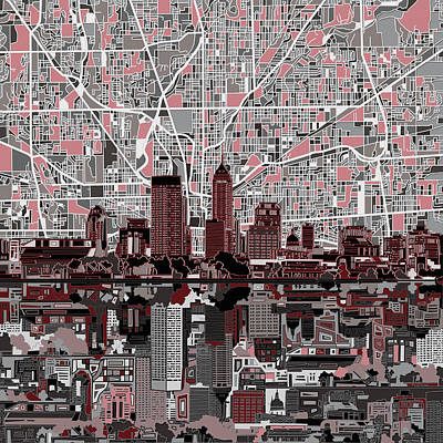 Abstract Skyline Paintings - Indianapolis Skyline Abstract 1 by Bekim M