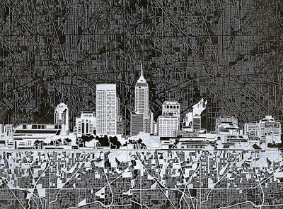 Abstract Skyline Paintings - Indianapolis Skyline Abstract 10 by Bekim M
