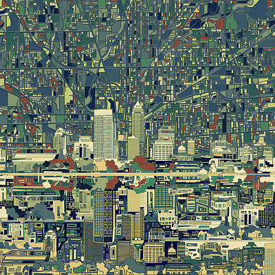 Abstract Skyline Paintings - Indianapolis Skyline Abstract 3 by Bekim M
