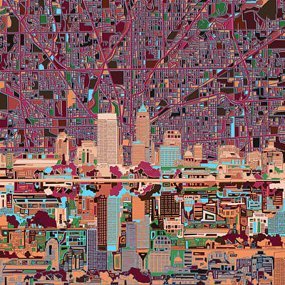 Abstract Skyline Paintings - Indianapolis Skyline Abstract 4 by Bekim M
