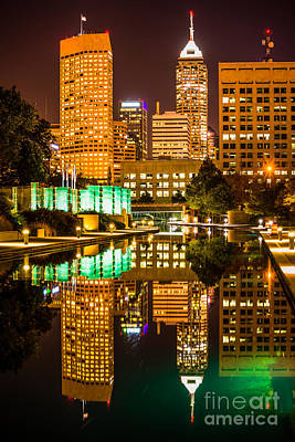 Indianapolis Skyline At Night Canal Reflection Picture Art Print