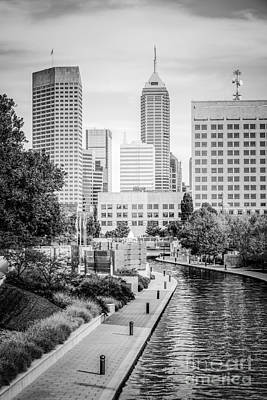 Canal Walk Photograph - Indianapolis Skyline Black And White Photo by Paul Velgos