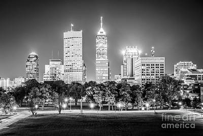 Indiana Photograph - Indianapolis Skyline Black And White Picture by Paul Velgos