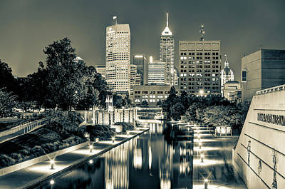 White River Photograph - Indianapolis Skyline - Canal Walk Bridge View In Sepia by Gregory Ballos