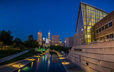 Photograph - Indianapolis Skyline From The Canal At Night by Ron Pate