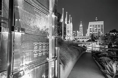 Photograph - Indianapolis Skyline From The Veterans Memorial - Black And White by Gregory Ballos