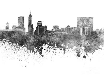 Grunge Painting - Indianapolis Skyline In Black Watercolor On White Background by Pablo Romero