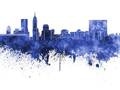 Indianapolis Skyline In Blue Watercolor On White Background Art Print by Pablo Romero