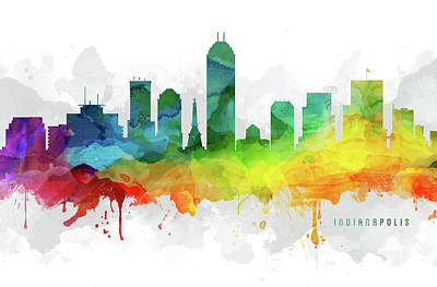 Indianapolis Digital Art - Indianapolis Skyline Mmr-usinin05 by Aged Pixel
