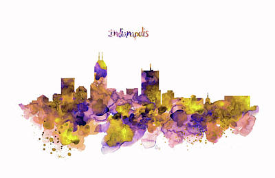 Purple Digital Art - Indianapolis Skyline Silhouette by Marian Voicu