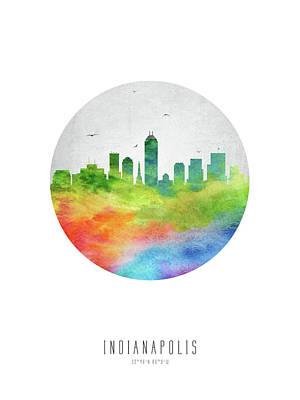 Indianapolis Skyline Usinin20 Art Print by Aged Pixel
