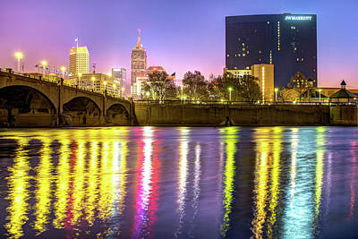 Indianapolis Skyline Water Reflections Art Print by Gregory Ballos