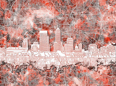 Abstract Skyline Royalty-Free and Rights-Managed Images - Indianapolis Skyline Watercolor 10 by Bekim M