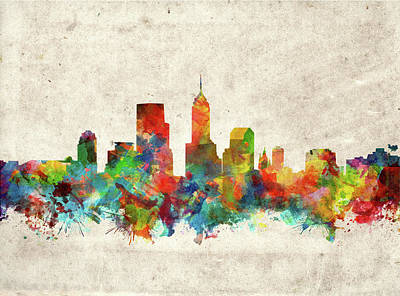Abstract Skyline Royalty-Free and Rights-Managed Images - Indianapolis Skyline Watercolor 2 by Bekim M