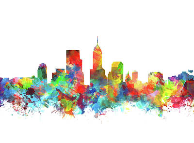Abstract Skyline Paintings - Indianapolis Skyline Watercolor 3 by Bekim Art