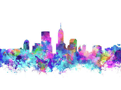 Abstract Skyline Royalty-Free and Rights-Managed Images - Indianapolis Skyline Watercolor 4 by Bekim M