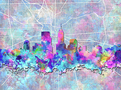 Abstract Skyline Paintings - Indianapolis Skyline Watercolor 5 5 by Bekim Art