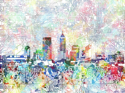 Abstract Skyline Royalty-Free and Rights-Managed Images - Indianapolis Skyline Watercolor 7 by Bekim M